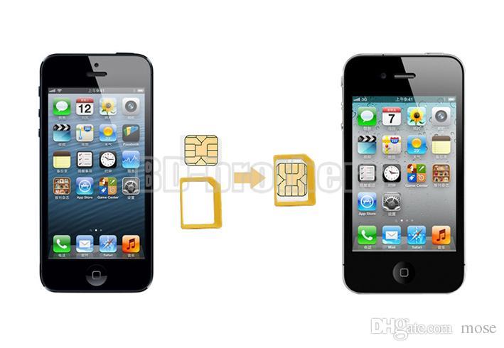 Желтый упаковка коробка 5 в 1 Металл SIM-карты адаптер Nano Micro адаптер с наждачной бумагой для iPhone 4 5 6 1000 компл. / лот