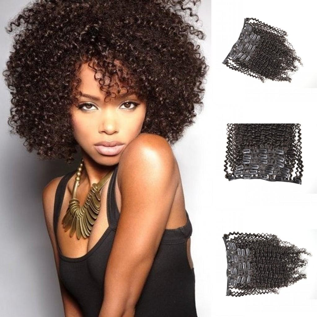 4b 4c Kinky Curly Clip In Human Hair Extensions Russian African