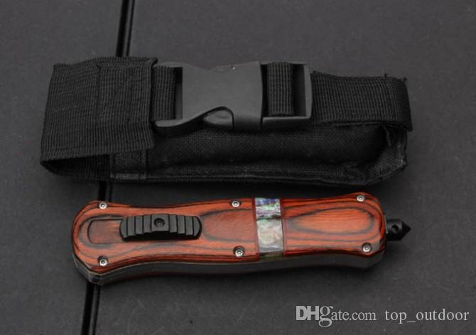 Bench A019 Red Wooden Handle D2 59HRC best made Black Blade Camping Tool Pocket Tactical knife survival knife knives
