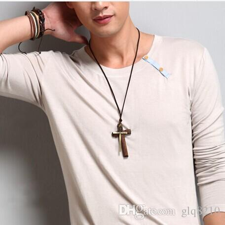 New! Double wood cross pendants necklaces vintage long style sweater chain alloy leather cord men women jewelry fashion