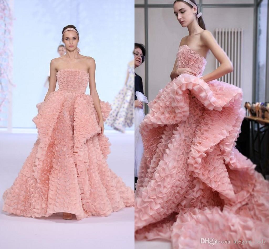 Ralph & Russo Blush Luxury Ruffles Prom Dresses 2018 Custom Make ...
