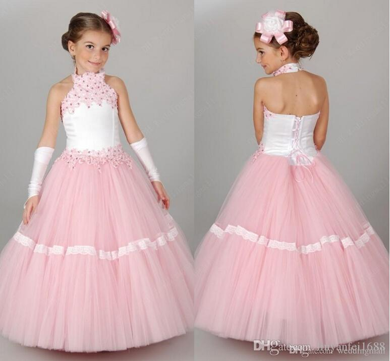 Lace Beaded Halter Colorful Flower Girl Dresses Flower Girl Wedding Dresses Baby Dresses Kids Party Dresses