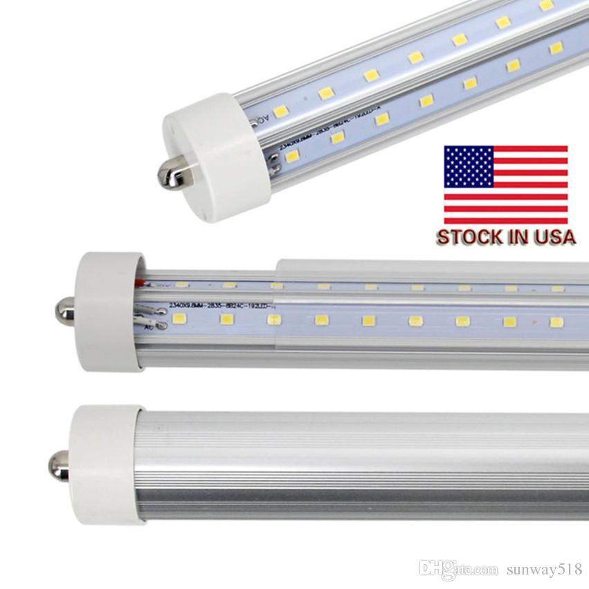 На складе В США + 72 Вт 8ft t8 светодиодные трубки с одним контактом FA8 8 футов светодиодные лампы Двухрядные светодиодные люминесцентные лампы переменного тока 85-265 В
