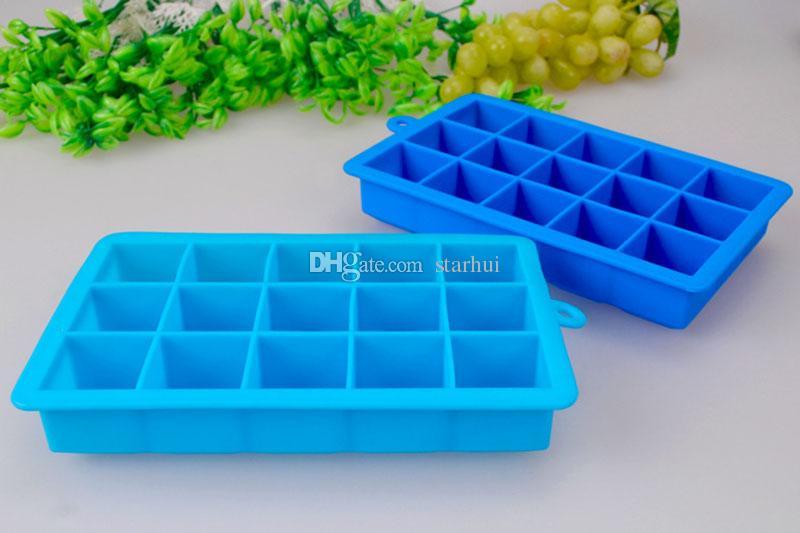 15 grade DIY Criativo Cube Ice Mold Quadrado silicone gelo bandeja de frutas Malha vegetal puro bloco de gelo Milk Shake Aperitivo congelado WX9-180