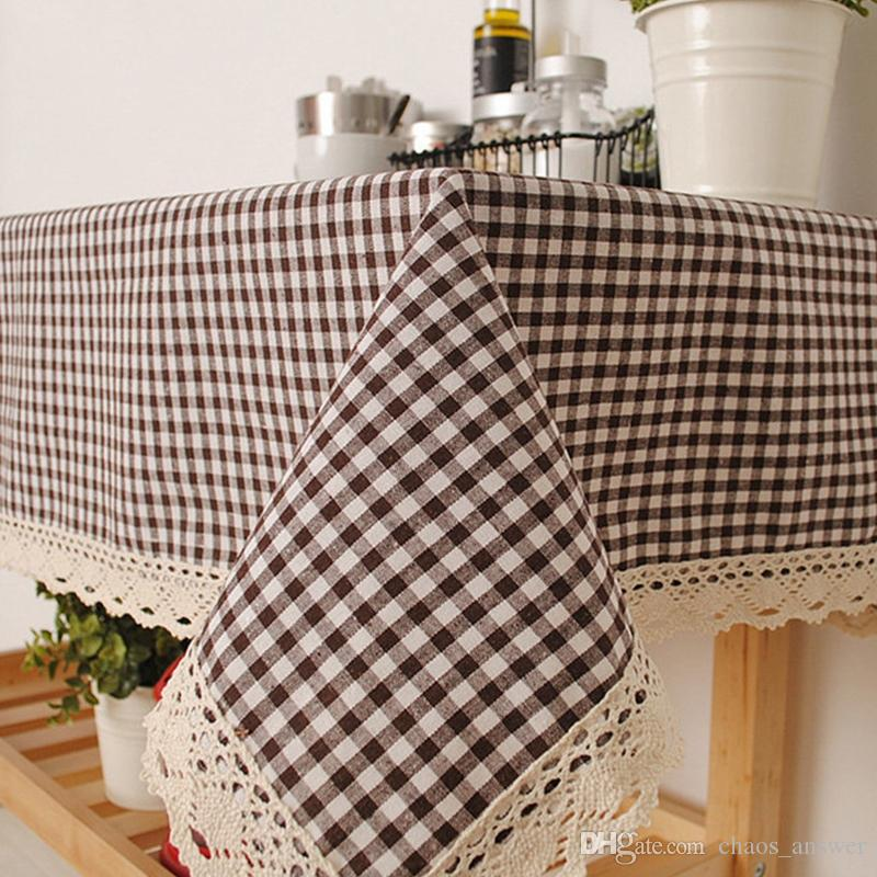 Pastoral Style Lattice Table Cloth With Lace Bohemia Style Linen Tablecloth  Plain Dyed Rectangle Table Cloth Table Cover Patio Tablecloth Italian  Tablecloth ...