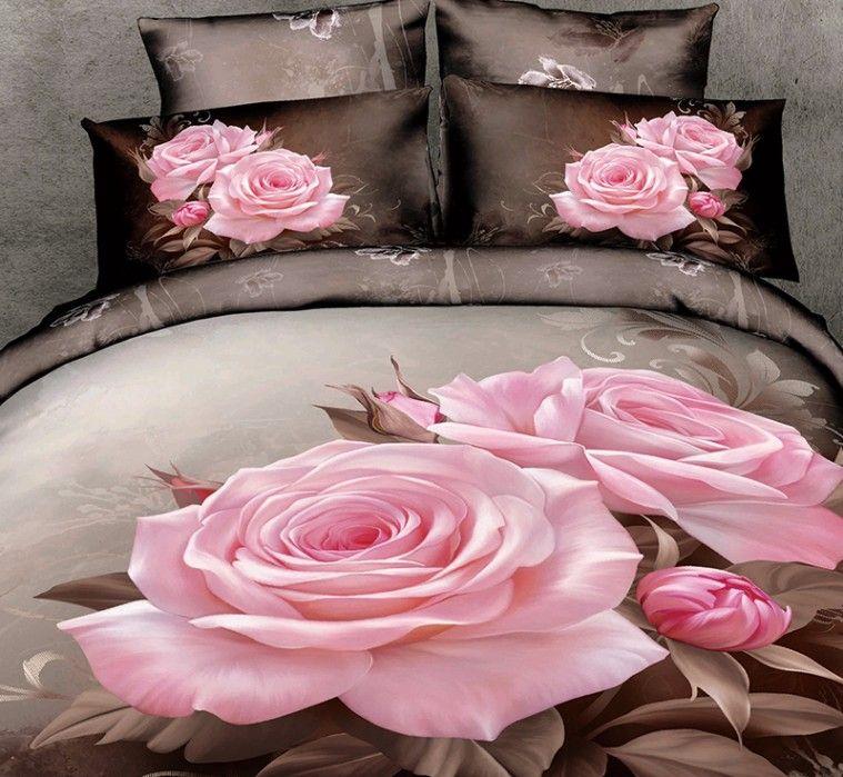 3d pink rose bedding sets floral duvet cover fitted bed sheet bedspread linen super king size queen double full 100 cotton bedsheet 5pcs