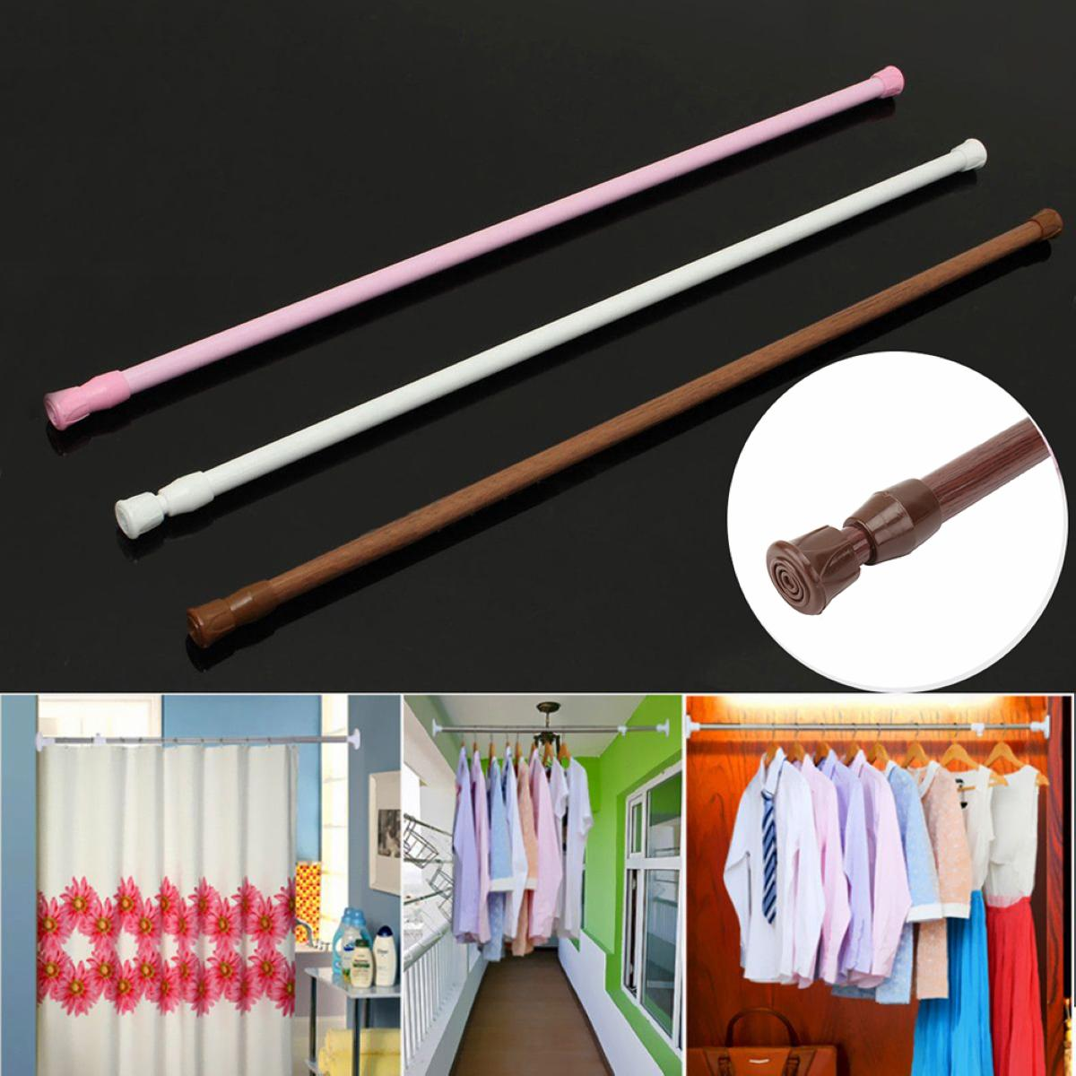 2018 60 110cm Adjustable Spring Loaded Bathroom Shower Curtain Rod Tension Extendable Telescopic Poles Rail Hanger From Tanguimei2 784