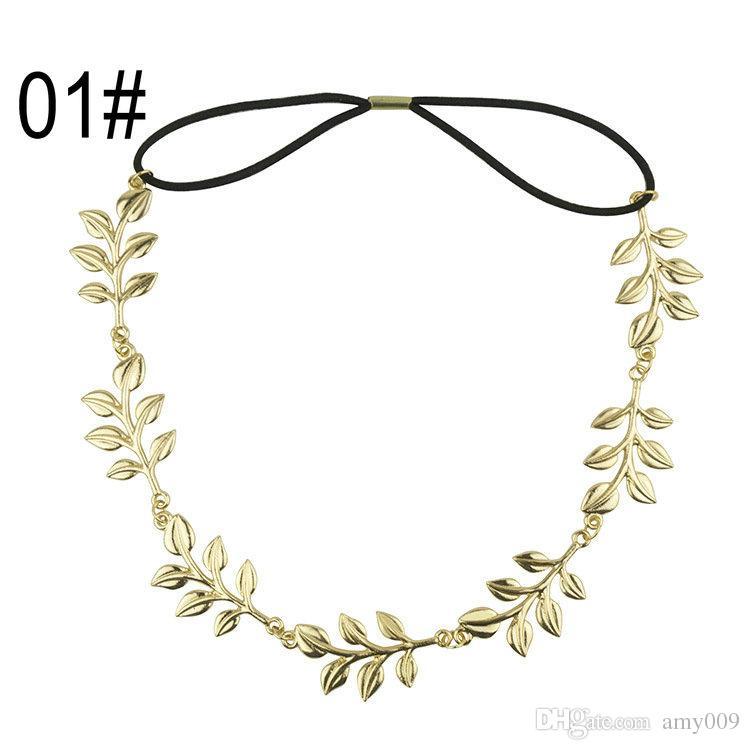 Varejo moda hot style faixa de cabelo senhora ouro Folha de oliveira cabeça head piece cadeia folhas de ouro faixa elástica faixa de cabeça