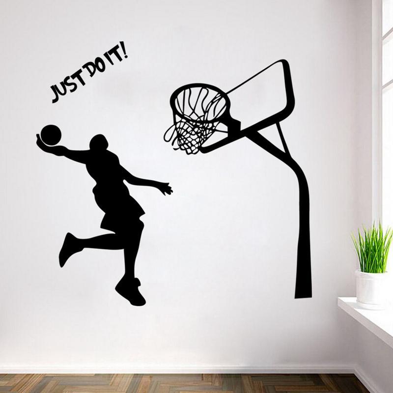 c9f1af1a1d6cf Acheter Joueur De Basket Ball Dunk Stickers Muraux Murs Amovibles Art Décor  DIY Sticker Mural Decal Nursery Sticker Pour Garçon Chambre Salon Chambre De  ...