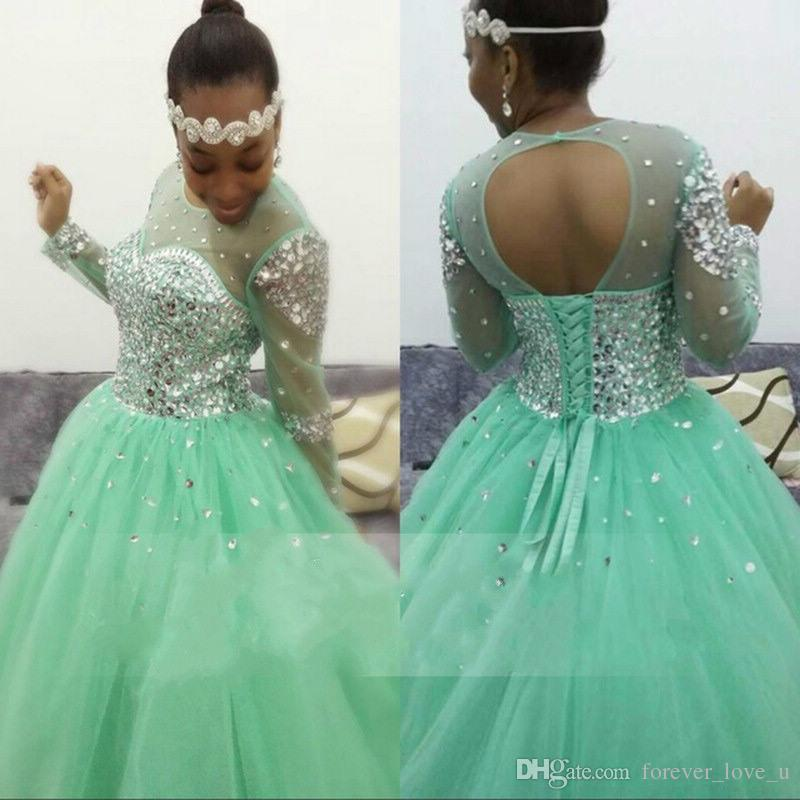 Sparkly Mint Green Ball Gown Prom Dress Sheer Jewel Neck Illusion Long  Sleeves Crystals Cut Out Open Back Lace Up Tulle Evening Gown Lace Prom  Dress Long ... 4f76272f8bc9