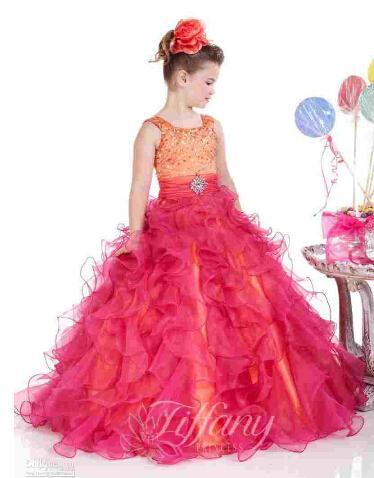 Çocuk Çocuk Pageant payetler ile elbise tank tarzı korse Kolsuz Balo çiçek kız Parti balo kızın Pageant elbise Prenses