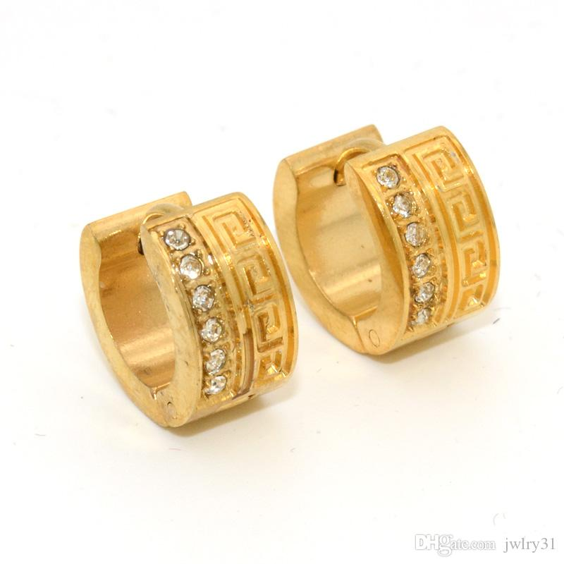 Surprising 18K Gold Mens Stainless Steel Round Crystal Hoop Earrings For Women Earings Brand Fashion Jewelry