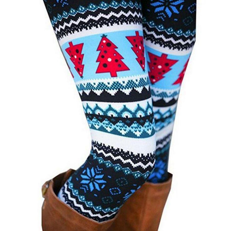 Inverno Natal Do Floco De Neve De Malha Leggings Xmas Meias Quentes Calças Stretch Collants Mulheres Bootcut Stretchy Calças OOA3442