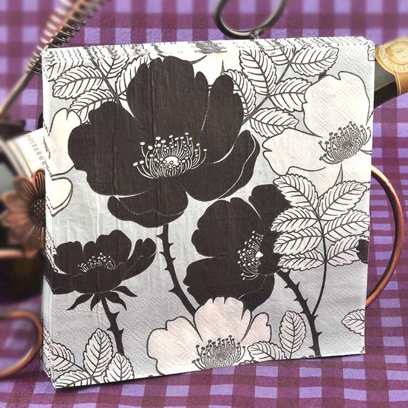 2018 food grade table paper napkins tissue flower bird black and white vintage printed decoupage home bar hotel wedding party festive decorative from
