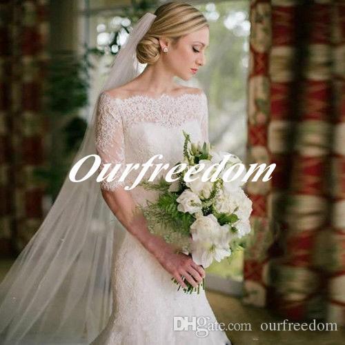 숄더 레이스 인 어 공주 웨딩 드레스 떨어져 우아한 보헤미안 비치 2019 하프 슬리브 가든 코트 트레인 웨딩 드레스