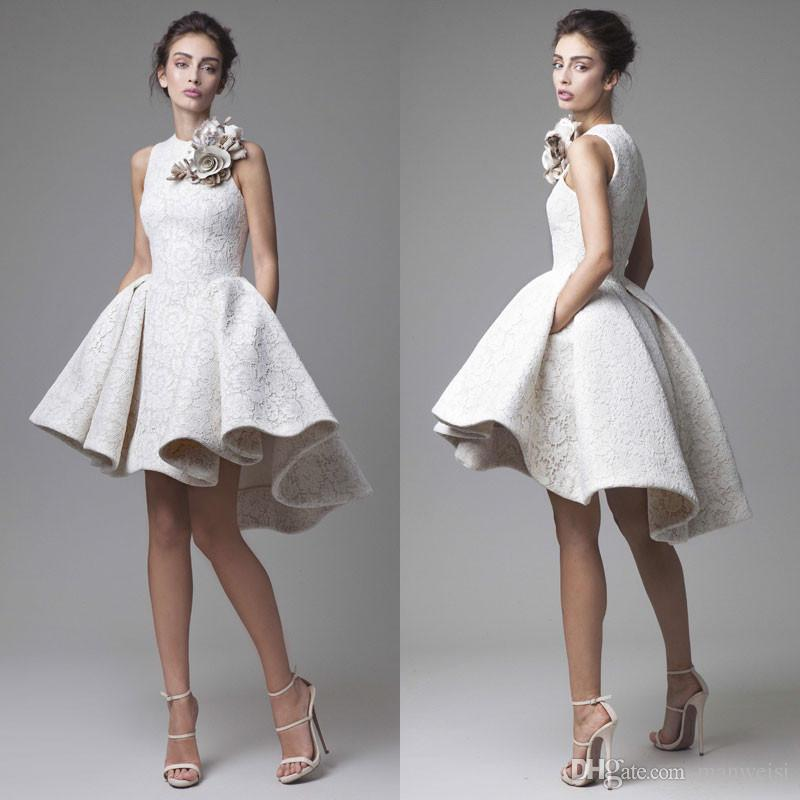 High Low Prom Dresses Jewel Neck Sleeveless Krikor Jabotian 2016 ...