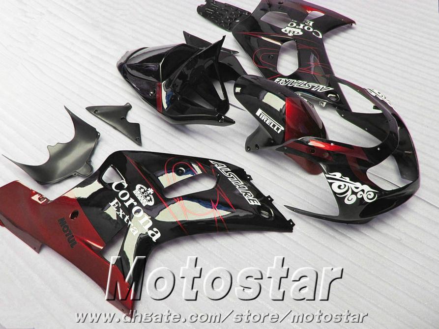 Fairing kit for SUZUKI GSX-R600 GSX-R750 01 02 03 fairings K1 GSXR 600/750 2001-2003 red black Corona plastic motobike set SK3