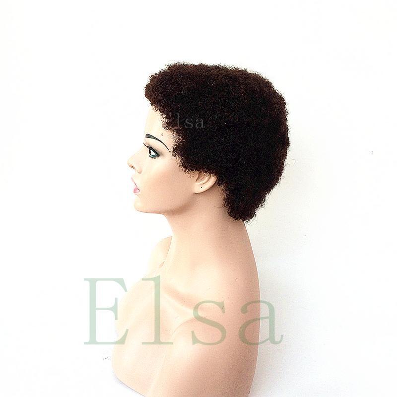 Parrucche capelli umani le donne nere Parrucche peruviane afro crespo ricci crespi anteriori con capelli del bambino 4inch parrucche dei capelli umani