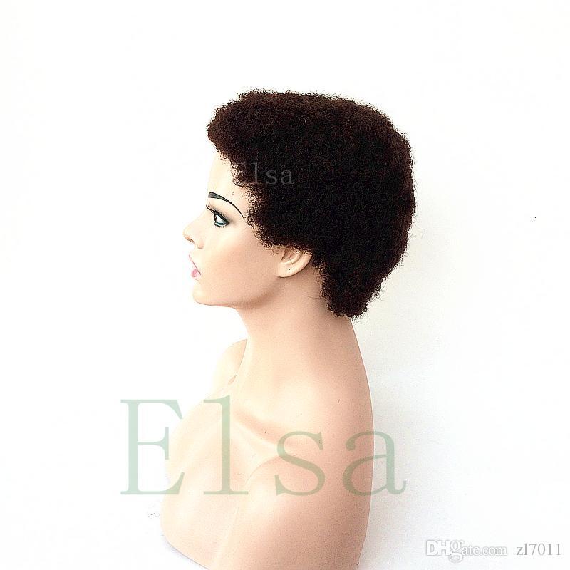Siyah Kadınlar Için insan Saç Peruk Perulu Afro Kinky Kıvırcık Dantel Ön Peruk Bebek Saç Ile 4 inç İnsan saç peruk
