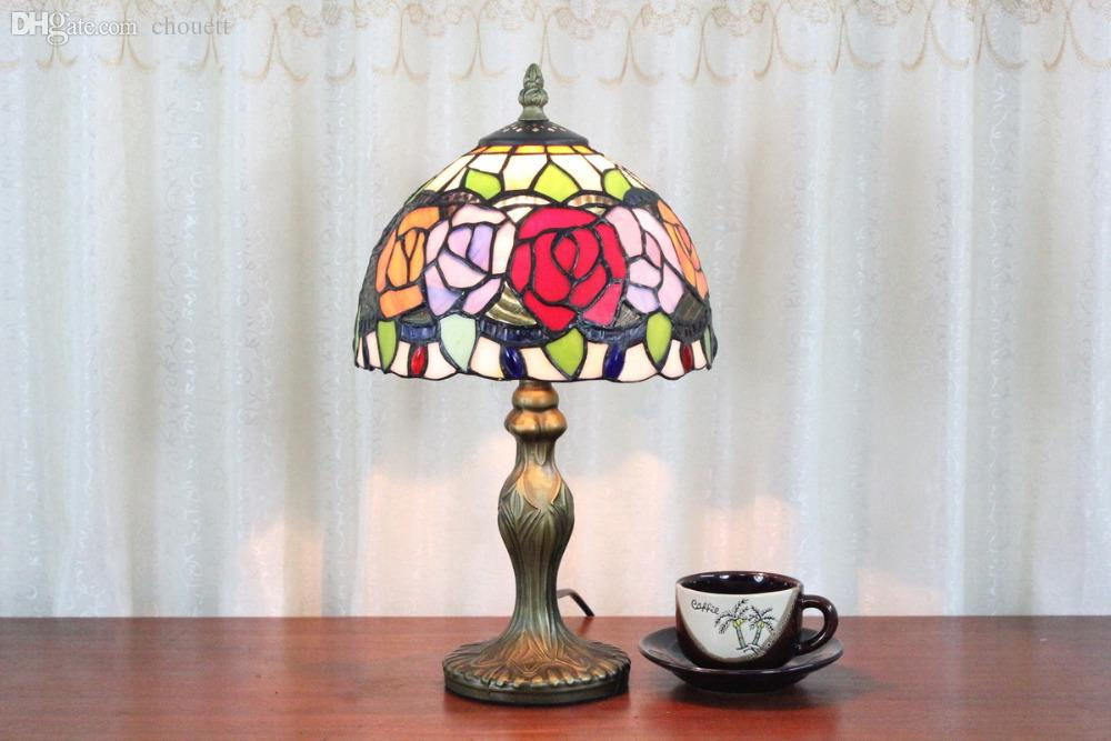 Wholesale EMS Free Ship Table Lamps Red Tiffany Roses Floral Shade Desk  Light Fixture Mediterranean Sea Style Bedroom E14 Lamp Oval Lamp Star  Bedroom Wall ...