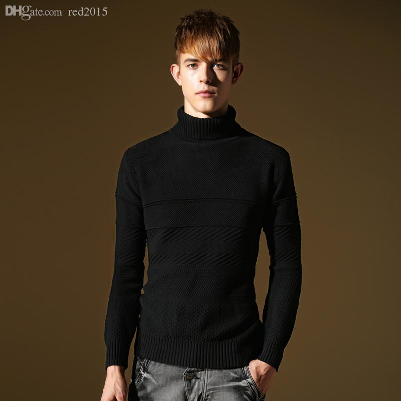 2018 Wholesale 2015 Men Plain Black Turtleneck Fashion Men,Mens ...