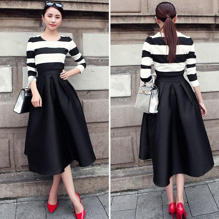 d96441d820 2019 2015 Fashion Women Vintage Style Pleated Flare Puff Skirt Black Casual  Plain Midi Skirt Saias Femininas 29 From Zhouyang621, $31.28 | DHgate.Com