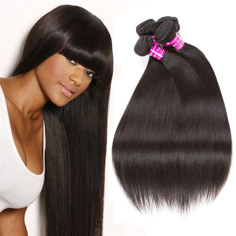 Indian Straight Remy Human Hair Weave Bundles Brazilian Peruvian