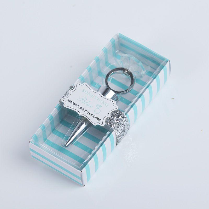 Rolha de garrafa de vinho anel de cristal com caixa de nupcial favores do casamento favores presentes