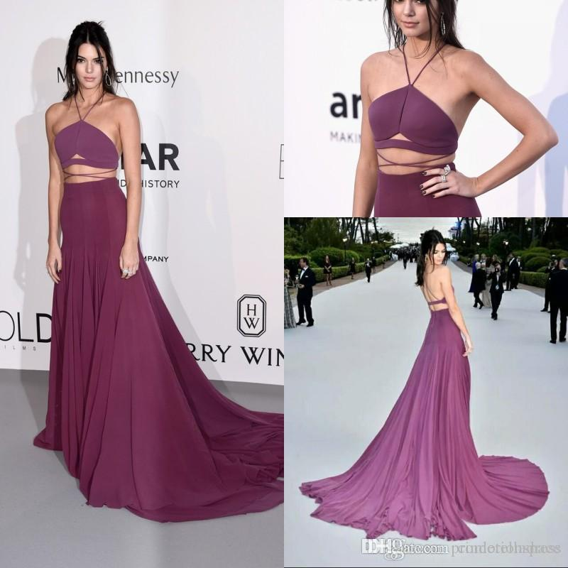 2017 Kendall Jenner Sexy Grape Two Pieces Prom Dress Backless ...