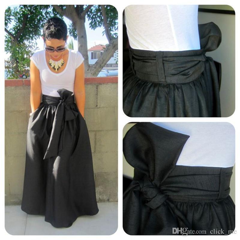 Personalisierte lange Röcke Sash Ribbon A Line Reißverschluss Fehlschlag Röcke lassen Sie mich Ihre Taille Größe Plus Size Abendkleider Abend für Dinner Party