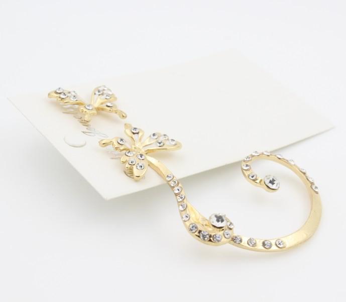 SHUANGR Hot Sale charming Women Butterfly Ear Cuff Clip Stud Crystal Rhinestone Earring Fashion jewelry