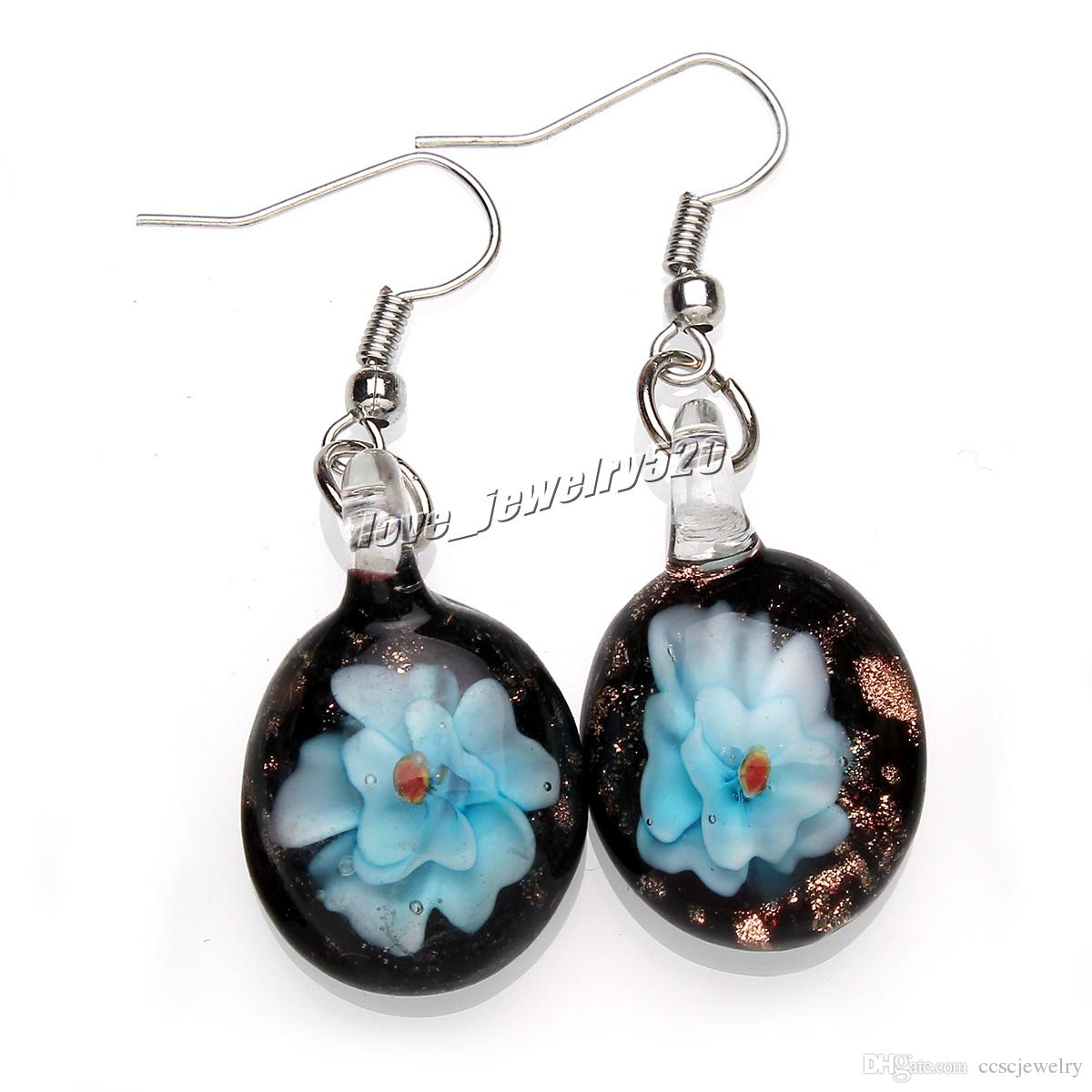 Fashin wholesale handmade mix color Italian Gold sand Round 3D Flower Lampwork murano glass Earrings