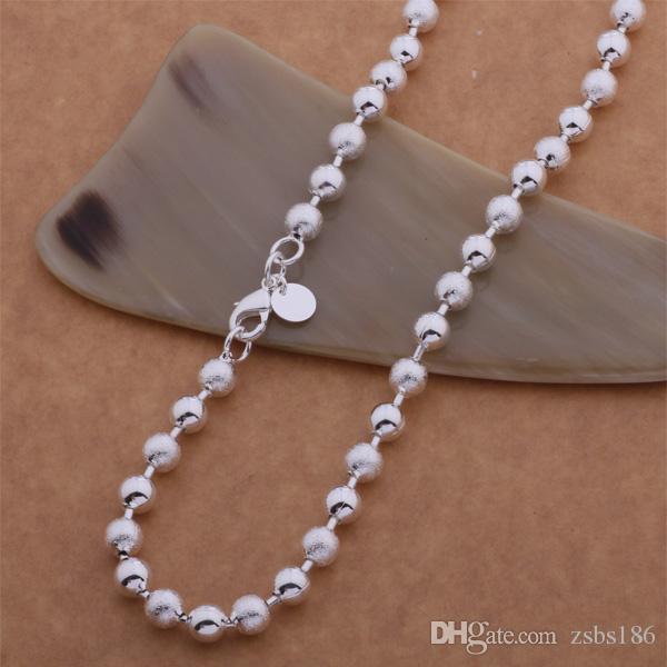 Высокое качество стерлингового серебра 925 покрытием бисера цепи ожерелье 6MMX20inches мода унисекс ювелирные изделия партии подарок бесплатная доставка