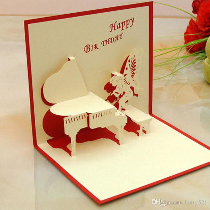 Happy Birthday 3D Pop UP Gift Greeting Blessing Cards Handmade Paper Silhoue Creative Angel Piano Hot Sale Online Card