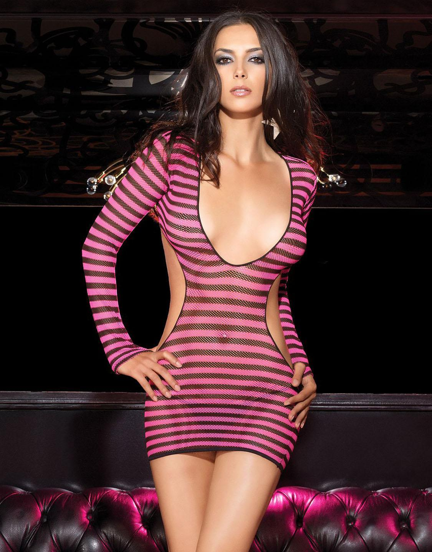 Clubwear Hot Sale Good Quality Woman Sexy Dress Long Sleeve Cut Out Clubwear with G-string W205156