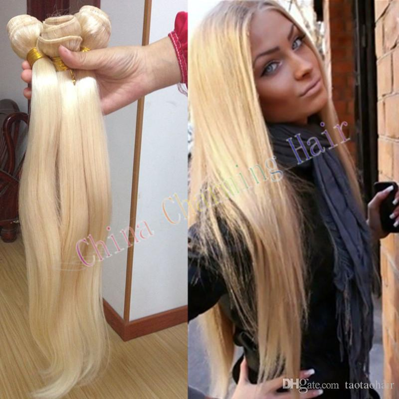 Cheap Platinum Blonde Weave 100 Unprocessed Russian 613 Blonde