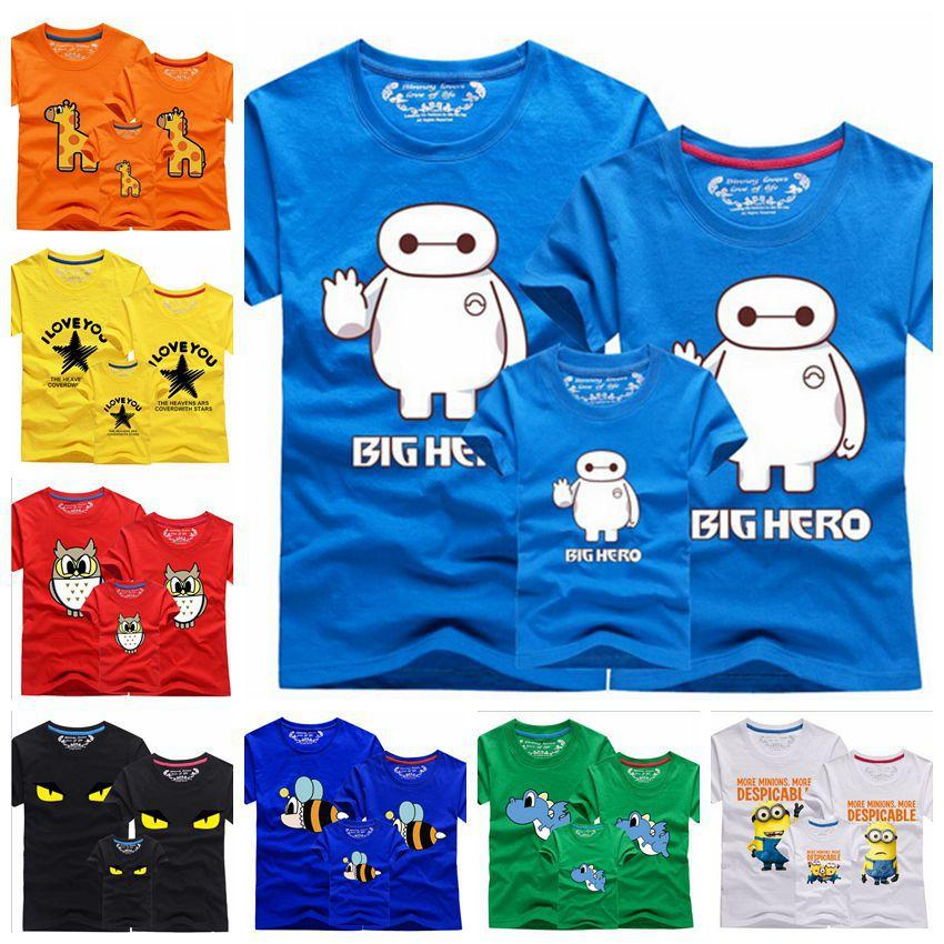 9612ab9f New 2015 Family Clothes Matching Mother Daughter Girl Father Son Child Summer  T Shirt Fashion 10 Designs Cartoon Print CC2091 Kids Matching Outfits Daddy  ...