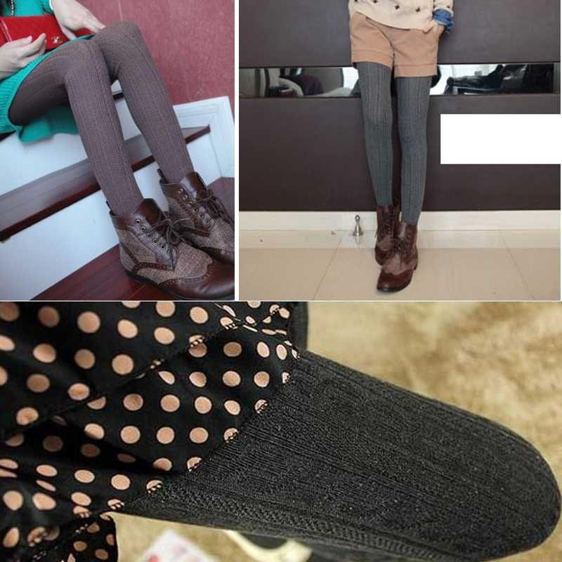 Kadınlar Için sıcak Yeni Tayt Casual Sıcak Kış Üzengi Legging Hattı Şerit Örme Kalın Ince Tayt Süper Elastik