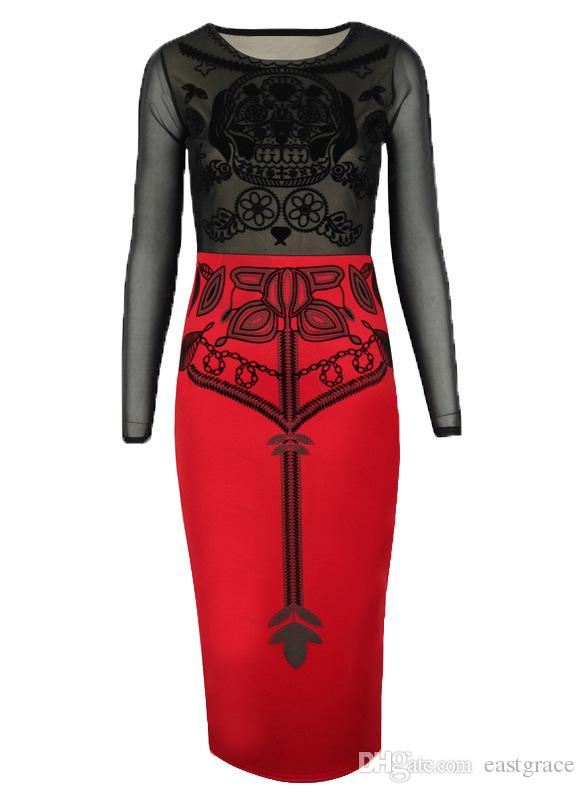 Star style fashion lace dress Plush size S-XXL for ladies Lace dresses with long sleeve patchwork bodycon dresses Women red printed dress