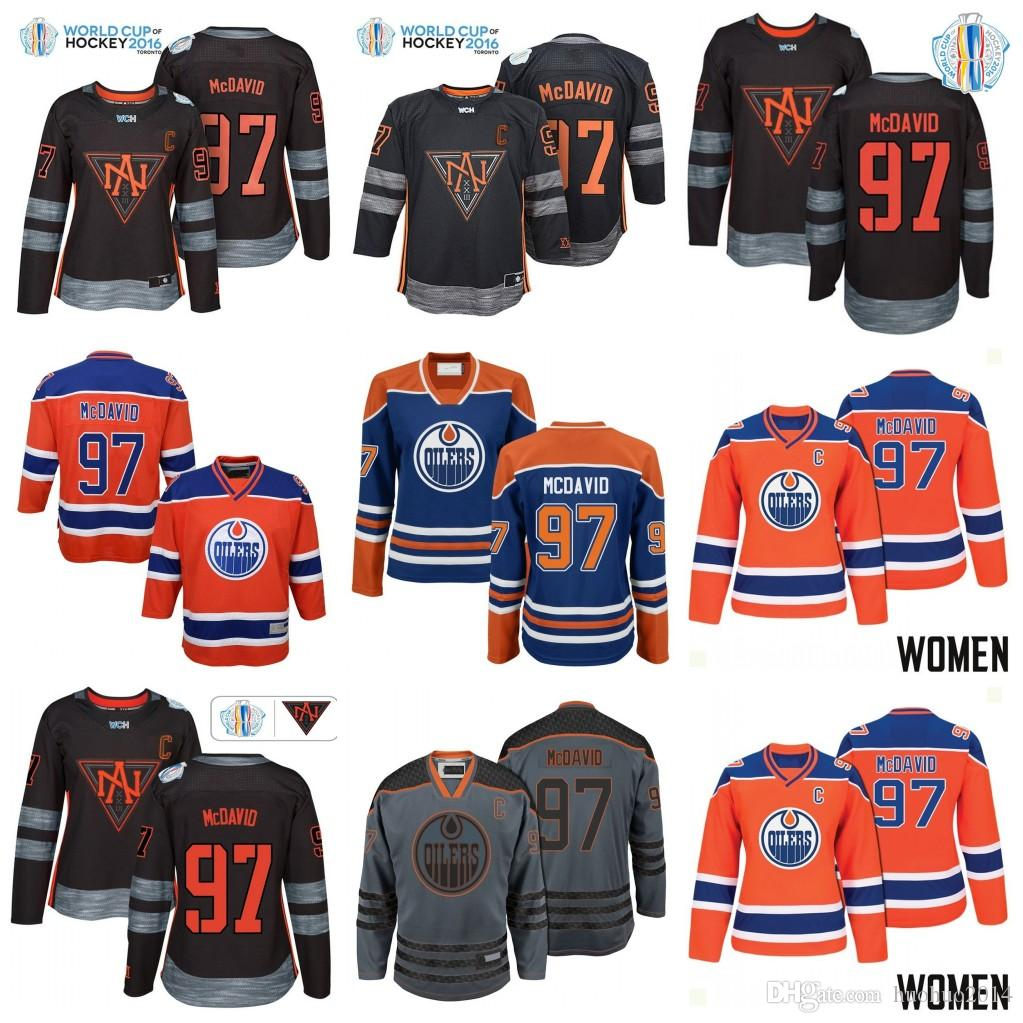 finest selection 867e3 defce #97 Connor McDavid Edmonton Oilers Womens Youth Stanley Cup Playoffs  Participant 2016 World Cup North America Team Hockey Jerseys