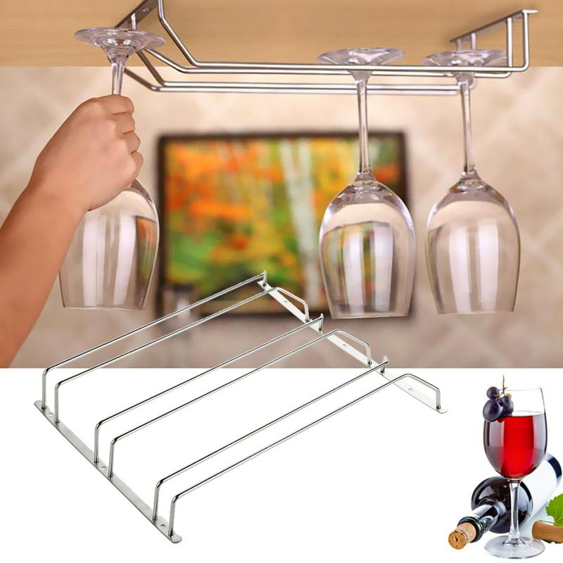 2017 1 3 Row Stainless Steel Wine Glass Rack Hanging Bar Glass ...