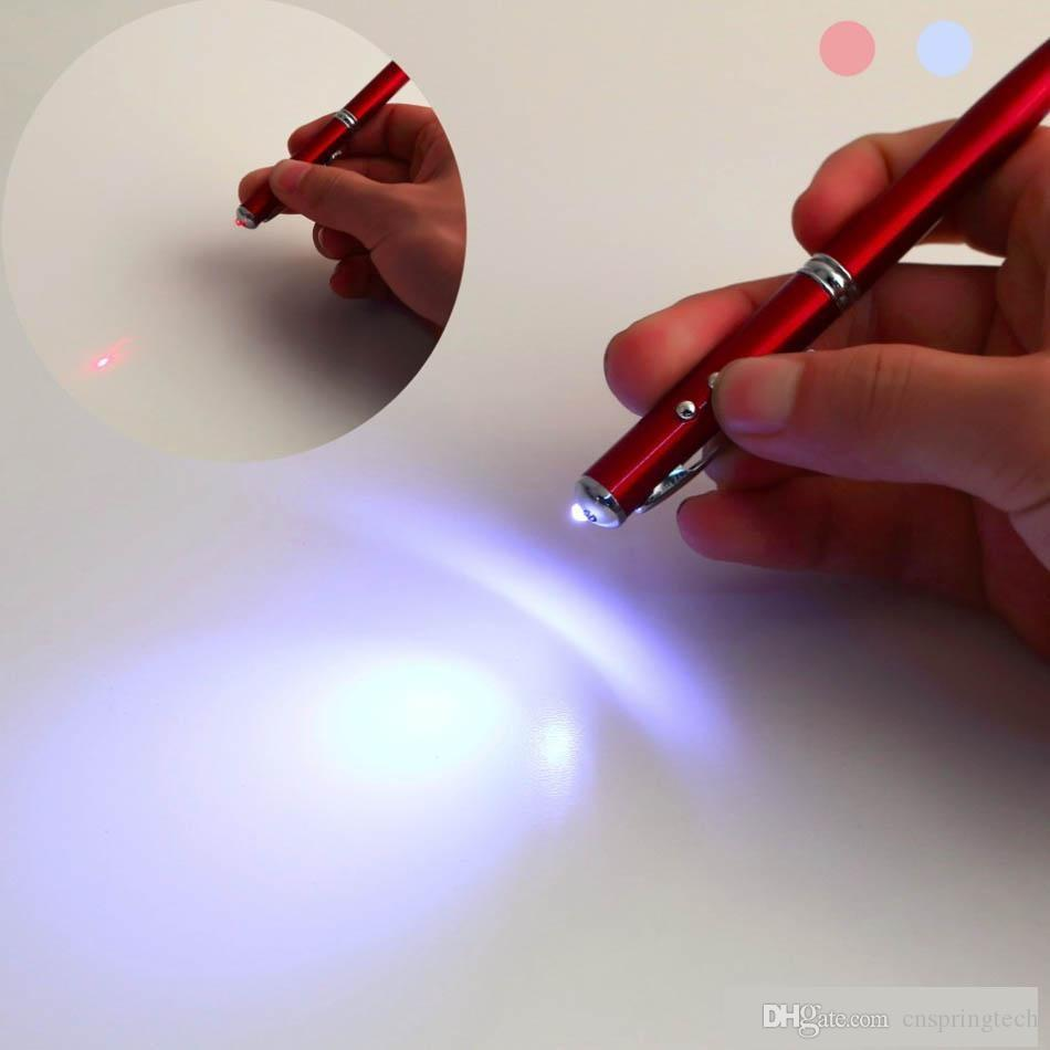 Newest! 4 in 1 Laser Pointer LED Torch Touch Screen Stylus Ball Pen for iphone X 8 7 6 samsung S8 S7 smart phone ipad