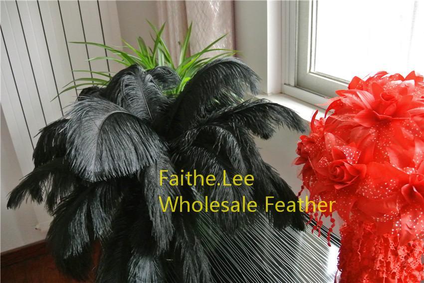 100 sztuk / partia 14-16inch 35-40 cm czarne Pióra strusia Pufuki do ślubu Centralny Ocedzenie Wedding Feather Decor Party Dostawa zdarzenia