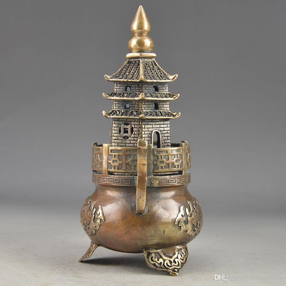 Gros pas cher en laiton Bouddha Exorcism travail manuel vieux martelé pagode Totem brûleur d'encens statue
