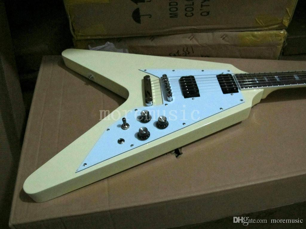 Newest Custom Solid Flying V Cream Color Electric Guitar