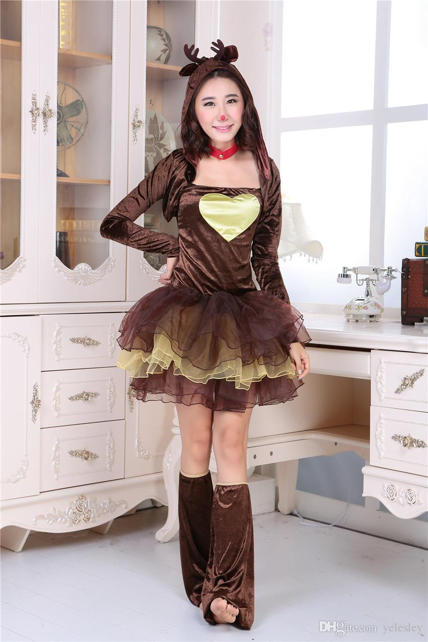 Mascote rainha de Natal princesa saia traje cap desempenho vestido de Halloween rena Animal Role Playing Service vestido de festa de Natal