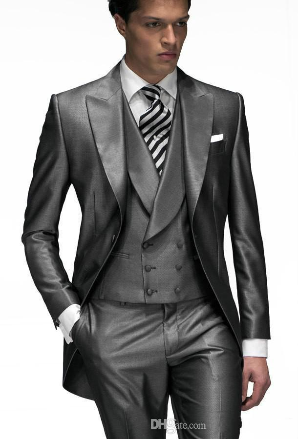 Groom Tuxedo Silver Grey 2015 Wedding Suits For Men Bridegroom ...