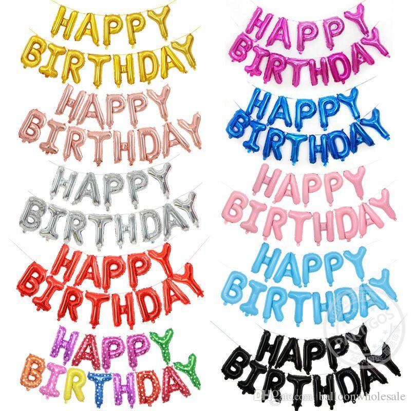 Grosshandel Alles Gute Zum Geburtstag Balloons Alphabet Buchstaben Hangen Party Dekorationen Kinder Goldene Silber Rosa Blau Folie Ballons Garland