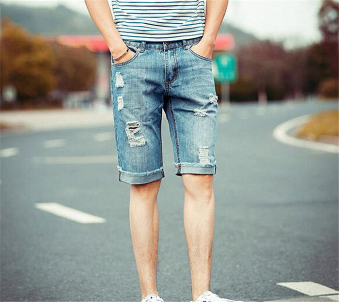 Online Cheap 2015 New Mens Baggy Jean Shorts Cotton Light Blue ...