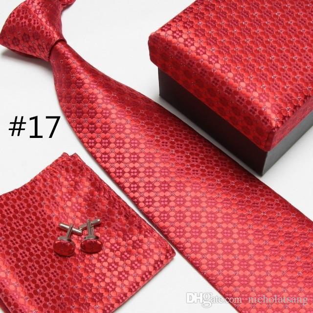 Men's Fashion High Quality Striped Neck Tie Set Gift for Boyfriend Neckties Cufflinks Hankies Silk Ties Cuff Links Pocket Handkerchief